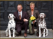 Our lucky charm Porter with the bridal couple Michael & Karola Lehmann and Coppola